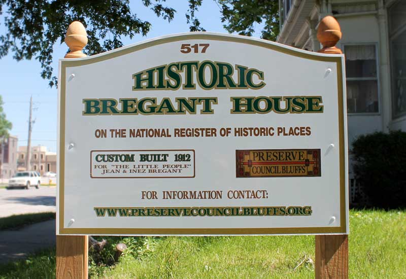Council Bluffs Bregant House listed on National Register of Historic Places and is also designated as a Local Landmark